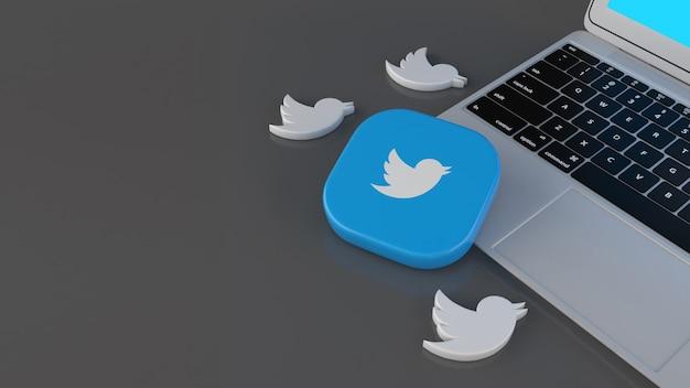 Rendu 3d de certaines icônes d'oiseaux et d'un badge carré twitter sur un ordinateur portable sur fond gris