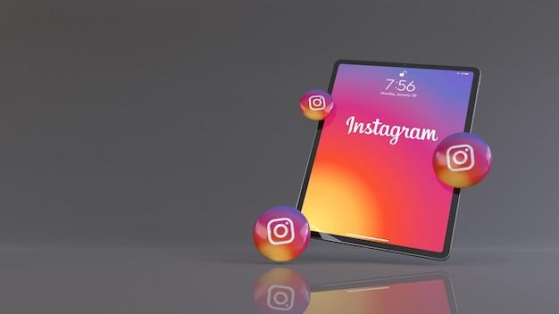 Rendu 3d de certaines pilules instagram devant un ipad affichant le logo de l'application instagram.