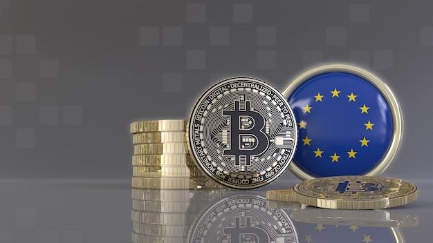 Rendu 3d de certains bitcoins métalliques devant un badge avec le drapeau de l'union européenne