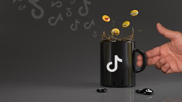 Rendu 3d de certains emojis tombant dans une tasse noire avec le logo tik tok.