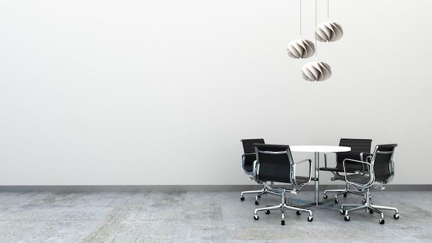 Rendu 3d de chaises de bureau avec table ronde sur le sol en béton décoré de plafonniers. mobilier de bureau avec espace copie. petit espace de réunion.