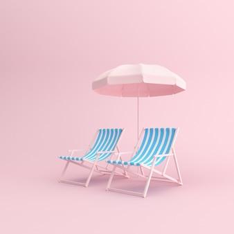 Rendu 3d de chaises d'extérieur avec parasol sur fond rose.