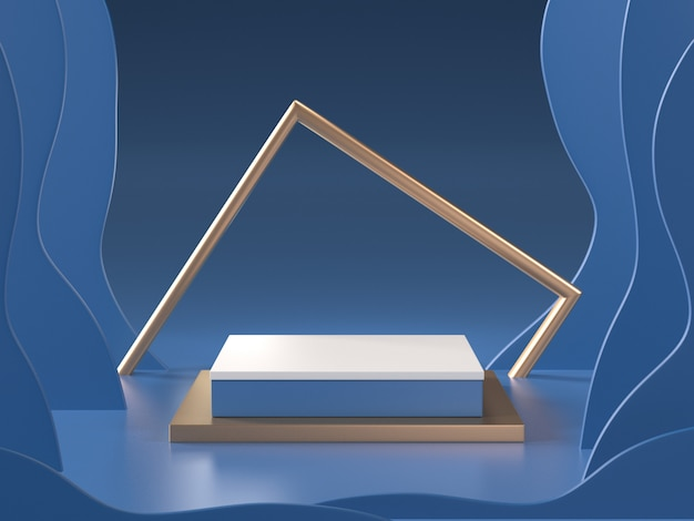 Rendu 3d de la chambre bleue abstraite avec podium et cadre doré