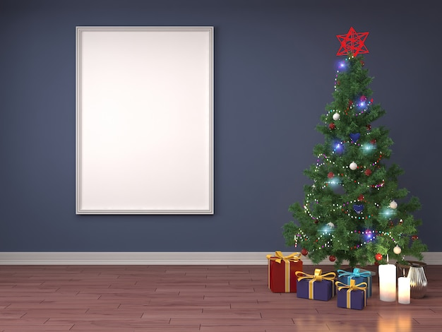 Rendu 3d d'une chambre moderne avec un arbre de noël