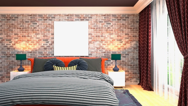 Rendu 3d d'une chambre moderne