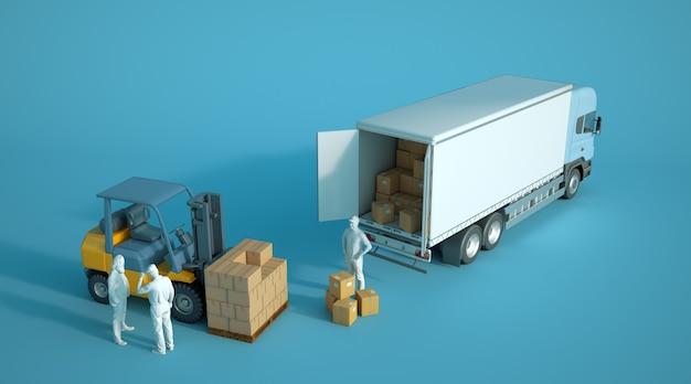Rendu 3d d'un chariot élévateur chargeant des boîtes dans un camion avec des travailleurs anoymous