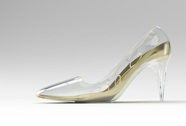 Rendu 3d chaussures pour femmes classiques élégantes dans les hautes collines sur un fond de couleur.