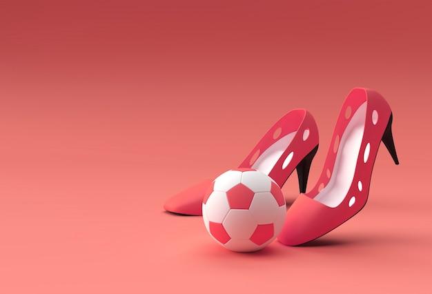 Rendu 3d chaussures pour femmes classiques élégantes avec football dans les hautes collines sur un fond de couleur.