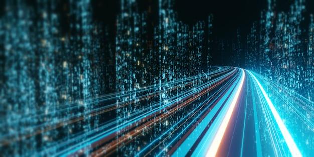 Rendu 3d d'un chemin routier abstrait à travers des tours binaires numériques en ville.