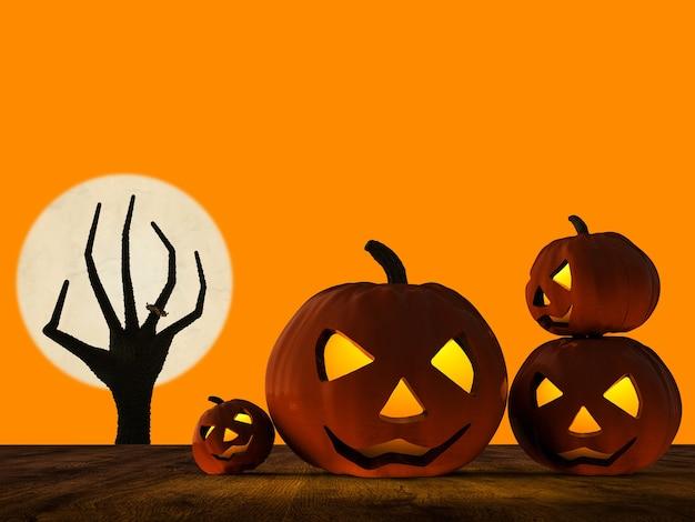 Le rendu 3d de la citrouille d'halloween et de la main zombie se levant