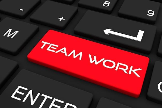 Rendu 3d. clavier noir avec clé de travail d'équipe, fond de concept d'entreprise et de technologie