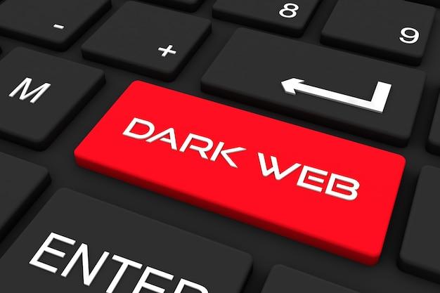 Rendu 3d. clavier noir avec touche web sombre, fond de concept d'entreprise et de technologie