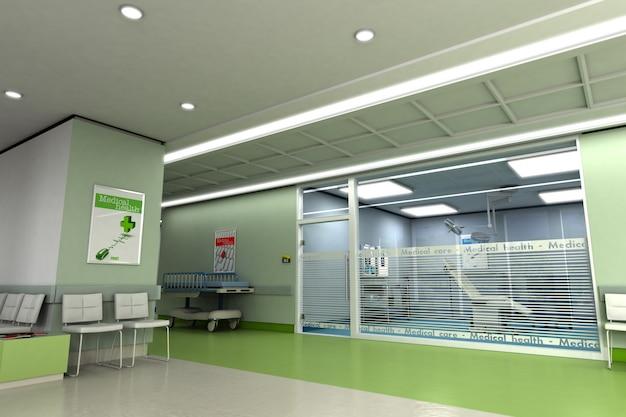 Rendu 3d d'une clinique moderne haut de gamme