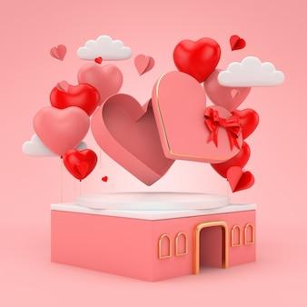 Rendu 3d coeur flottant sur fond de romance rose pour la saint-valentin.