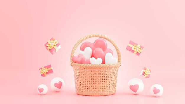 Rendu 3d de coeur rose dans le panier en osier à la saint-valentin