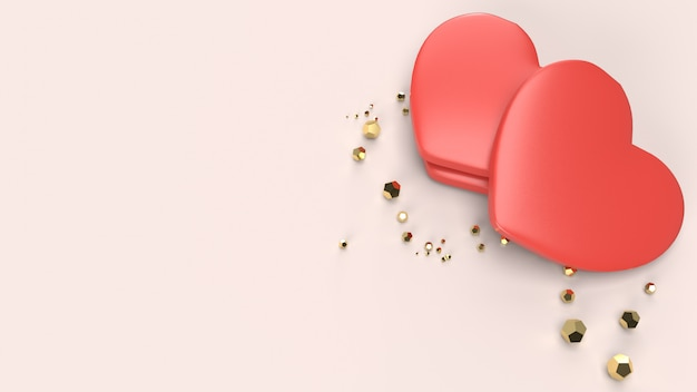 Le rendu 3d de coeur rouge pour la saint-valentin.