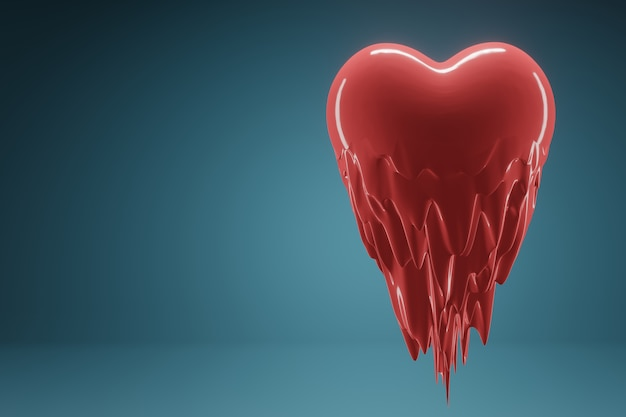 Rendu 3d le coeur rouge vole et fond de l'amour sur fond bleu.