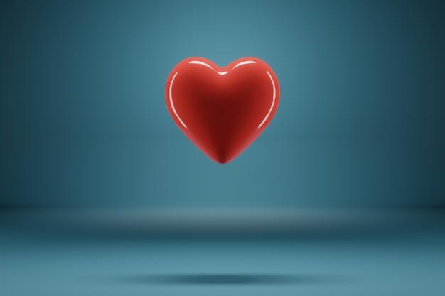 Rendu 3d le coeur rouge vole sur un fond bleu.