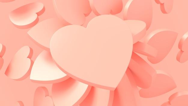 Rendu 3d coeurs roses saint valentin