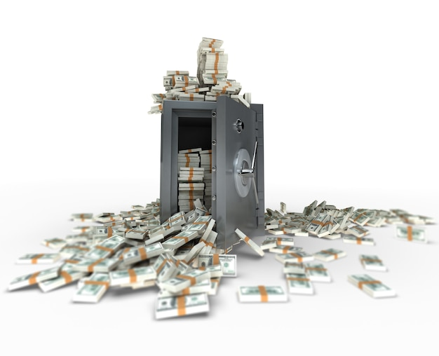 Rendu 3d d'un coffre-fort plein de billets de cent dollars