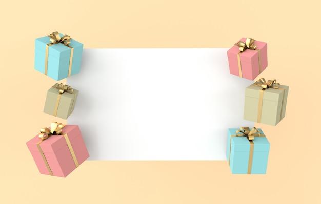 Rendu 3d de coffret cadeau coloré avec noeud de ruban doré et papier blanc