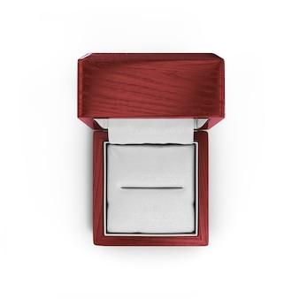 Rendu 3d de coffret cadeau laqué en bois pour anneaux isolés sur blanc