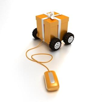 Rendu 3d d'un coffret cadeau orange sur roues connecté à une souris d'ordinateur