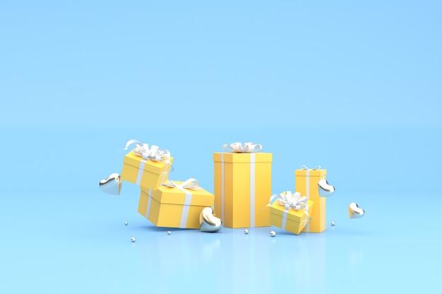 Rendu 3d de coffrets cadeaux jaunes flottants