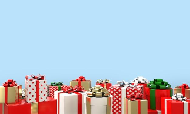 Rendu 3d de coffrets cadeaux rouge, blanc, or et motif de points avec des rubans sur le sol en fond bleu avec espace de copie. concept de noël et du nouvel an.