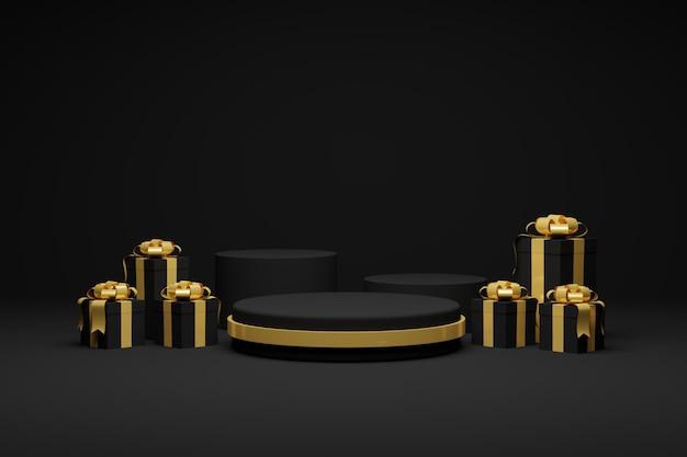 Rendu 3d coffrets cadeaux et ruban fond sombre de podium. fête de noël et bonne année.