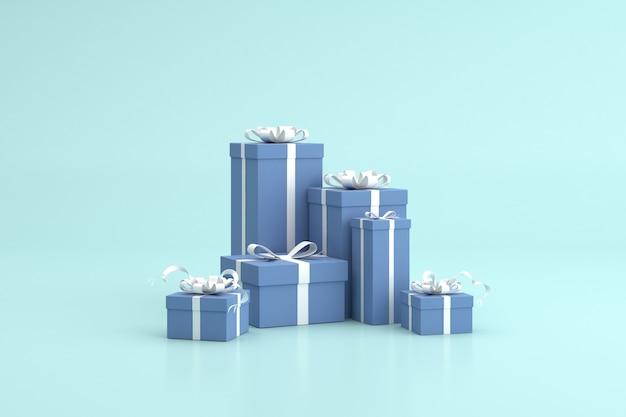 Rendu 3d de coffrets cadeaux, scène minimale, cadeaux d'anniversaire.