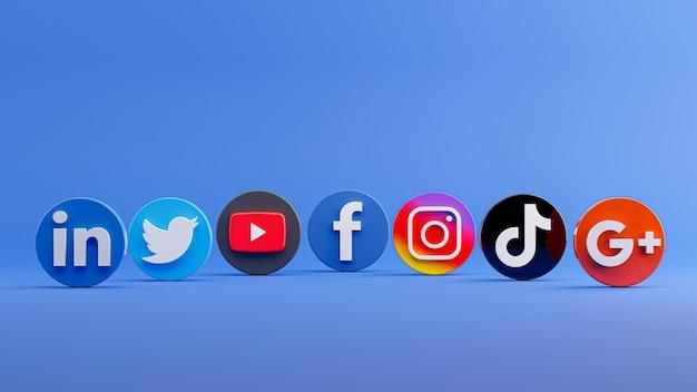 Rendu 3d de la collection d'icônes de médias sociaux