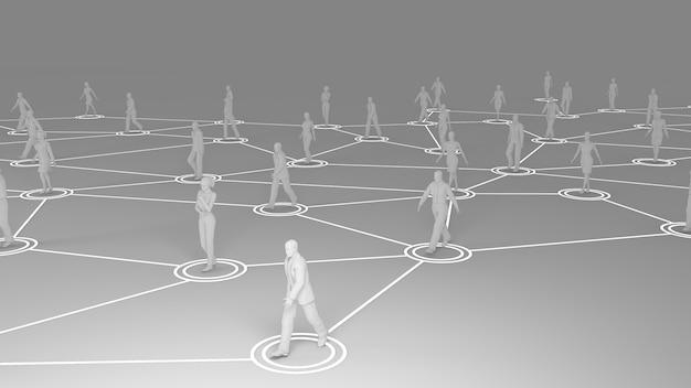 Rendu 3d avec communication sociale et concept de réseau avec des modèles 3d de personnes