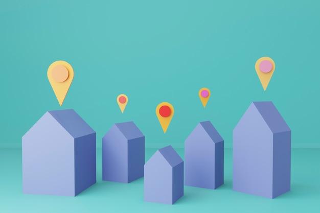 Rendu 3d complexe résidentiel avec de petites maisons différentes