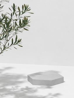 Rendu 3d de la composition abstraite pour la présentation du produit et des branches d'arbres