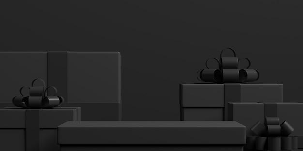 Rendu 3d de la composition abstraite pour la présentation du produit avec des coffrets cadeaux