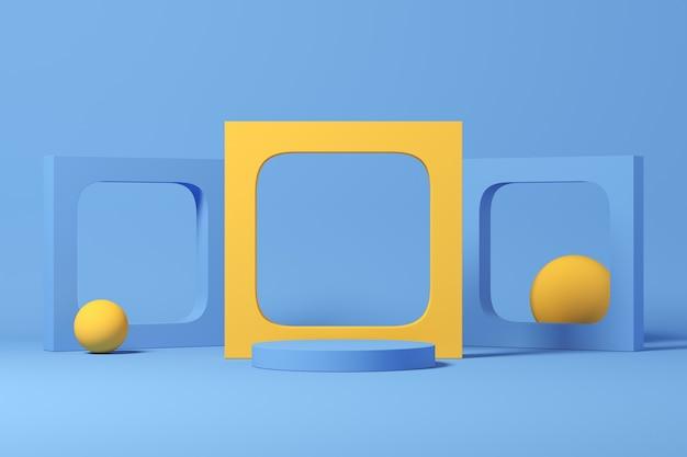 Rendu 3d de la composition abstraite pour la présentation du produit et des sphères