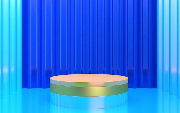 Rendu 3d de la composition cbstract avec podium. studio minimal avec piédestal rond et espace de copie. vitrine, présentation des produits.