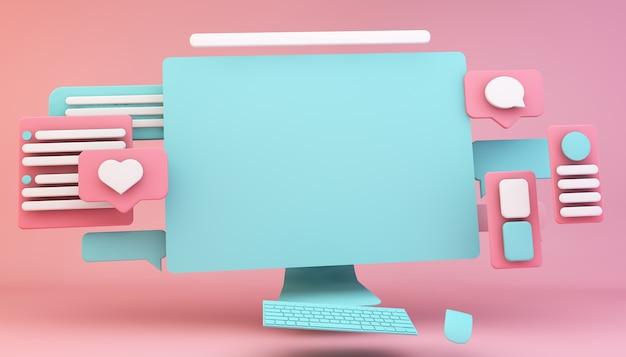 Rendu 3d de concept de conception d'interface