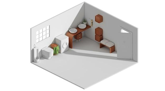 Rendu 3d d'un concept de disposition de cuisine propre minimaliste