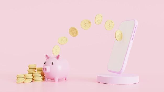 Rendu 3d, concept d'économie d'argent. transfert d'argent à la banque de téléphonie mobile. portefeuille, pièces de monnaie, tirelire