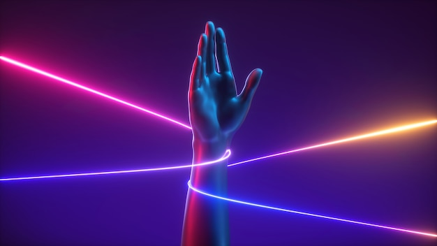 Rendu 3d, concept futuriste minimal abstrait, paume ouverte main artificielle avec chaîne colorée.