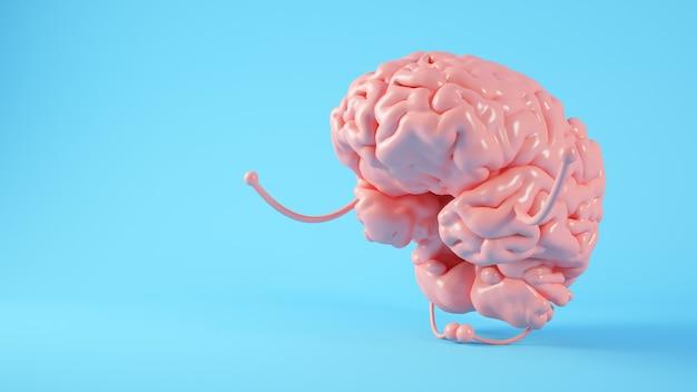 Rendu 3d de concept d'illustration de pleine conscience cerveau rose