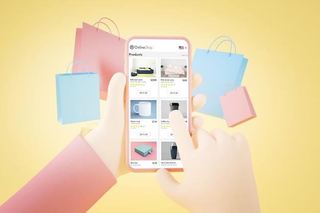 Rendu 3d de concept de magasinage en ligne