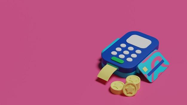 Rendu 3d de concept de paiement par carte de crédit