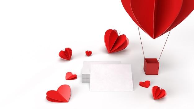 Rendu 3d, concept de la saint-valentin. disposition créative avec montgolfière faite de coeurs de la saint-valentin et carte de papier vierge sur fond blanc propre.