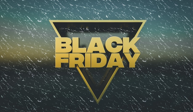 Rendu 3d. concept de vente du vendredi noir. concevoir l'arrière-plan du modèle pour la promotion ou la publicité.