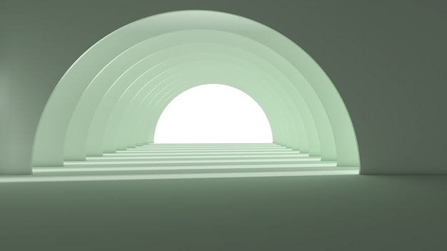 Rendu 3d de la conception d'art abstrait tunnel