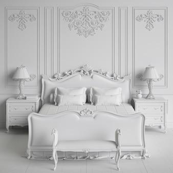 Rendu 3d de conception d'intérieur de chambre à coucher blanche monochrome classique