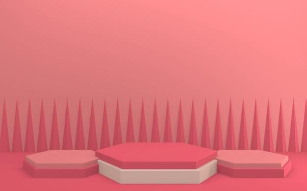 Le rendu 3d de la conception minimale du podium rose rouge